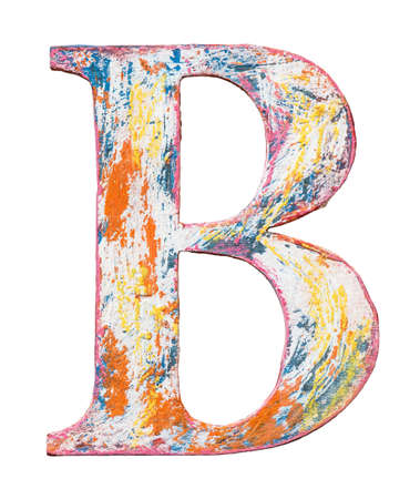 Colorful grungy handmade alphabet letter. Made of wood covered with paint.