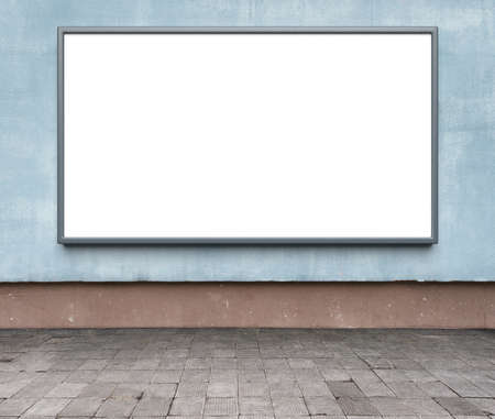 advertising space: Blank advertising billboard on a street wall. Stock Photo