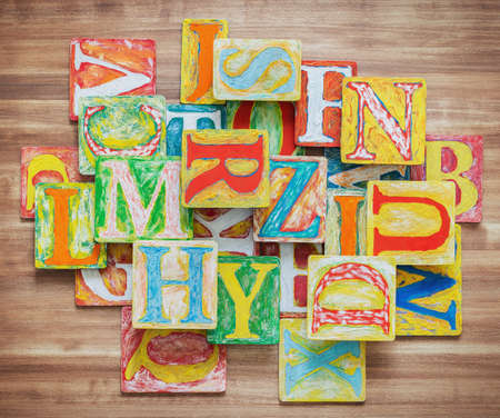 collage alphabet: Collage made of colorful alphabet letters. Stock Photo