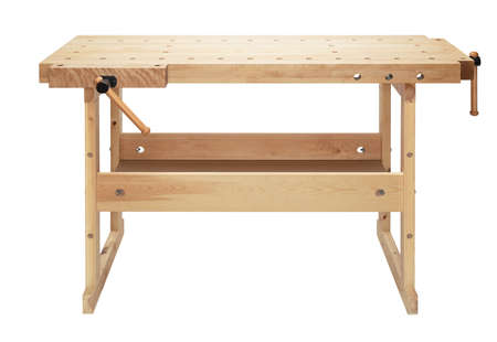 vise: Wooden workbench with vises. Woodworking workshop table isolated on white background.