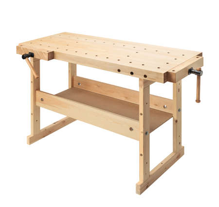 workbench: Wooden workbench with vises. Woodworking workshop table isolated on white background.