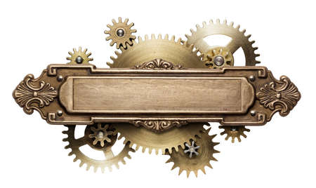 irons: Stylized mechanical steampunk collage. Made of metal frame and clockwork details. Stock Photo