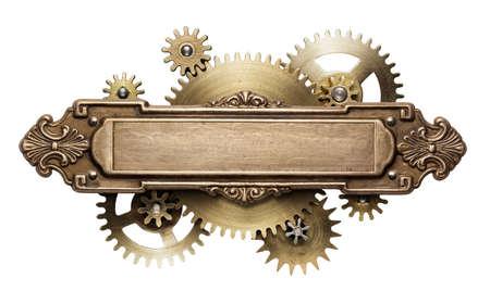 Stylizowane mechaniczne steampunk collage. Wykonane z metalowej ramy i szczegółów zegara.