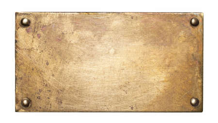 Brass plate texture. Old metal background with rivets.