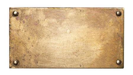 Messing plaat textuur. Oude metalen achtergrond met klinknagels.