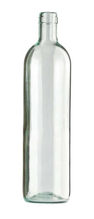 colorless: Empty colorless glass bottle, isolated. Stock Photo