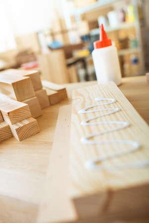 gluing: Gluing wooden board. DIY concept. Stock Photo