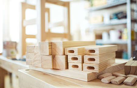 tenon: Stool making in woodworking workshop. Stock Photo