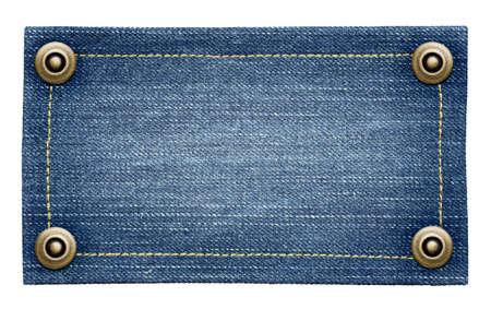 mezclilla: Worn blue jeans tarjeta textura. la etiqueta de mezclilla aislado con remaches.