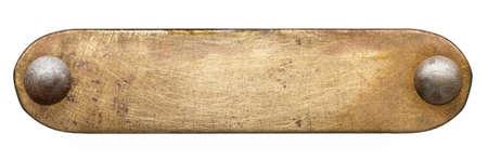 真鍮板のテクスチャです。リベットと古い金属の背景。