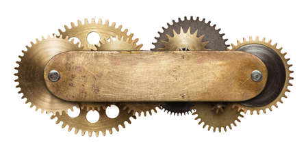 Stylized mechanical steampunk collage. Made of metal plate and clockwork details.
