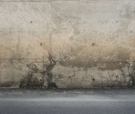 Dirty concrete wall and floor.