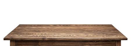 madera rústica: mesa de madera sobre fondo blanco. mesa de madera rústica vacía. Foto de archivo