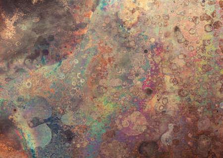 Textura envejecida de la placa de cobre, viejo fondo de metal desgastado.