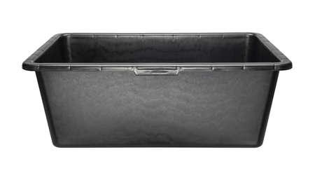 handbasin: Rectangular heavy duty black plastic basin for construction works. Isolated on white.