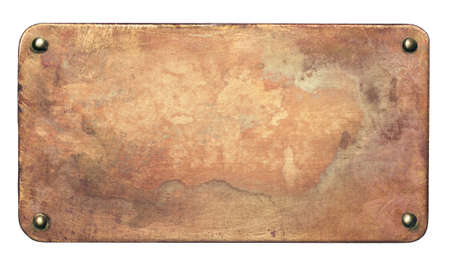 Copper plate with rounded corners and rivets. Old metal background. Archivio Fotografico