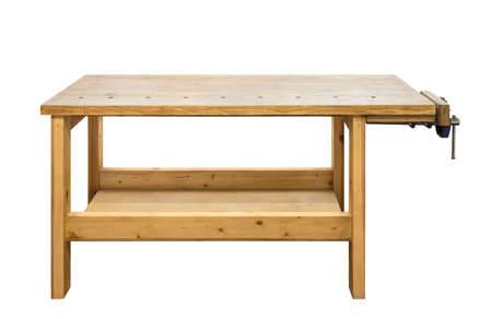 vise: Used wooden workbench with vise. Woodworking workshop table isolated on white background.