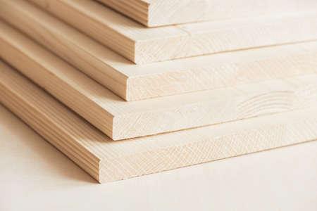 Stack of timber boards, wood panels. 版權商用圖片
