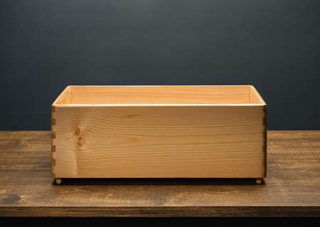 Empty wooden box on the table