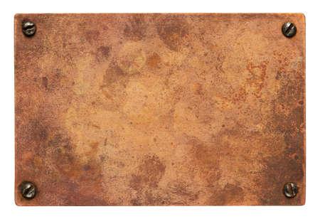 Copper plate with screws. Old metal background. 版權商用圖片