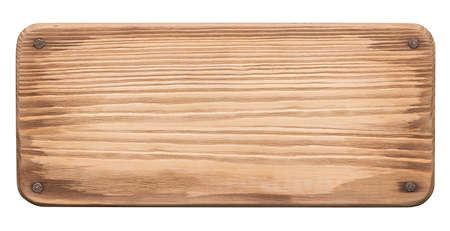 Rustic wooden board with nails. Old plank with rounded corners.