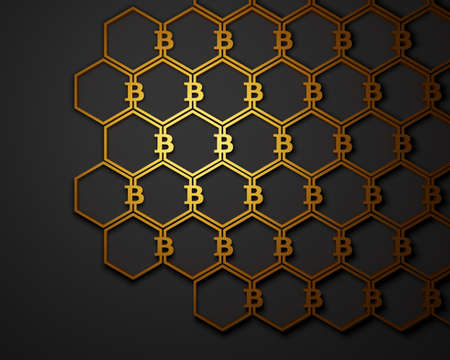 Bitcoin symbols connected in a pattern. Cryptocurrency background. 3D illustration. Stock Photo