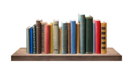 Books on the shelf, isolated. 版權商用圖片