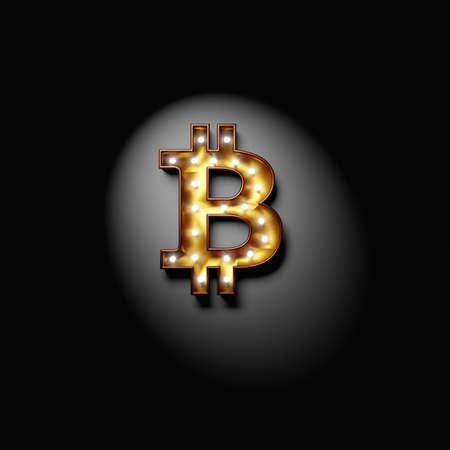 Bitcoin symbol as a lamp sign. 3d illustration.