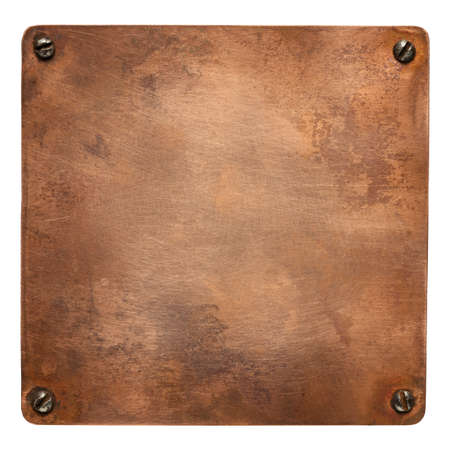 Copper plate with rounded corners and screws. Old metal background.