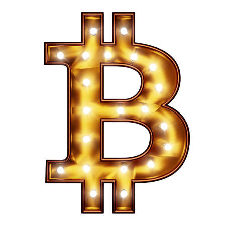 Bitcoin symbol as a lamp sign. 版權商用圖片