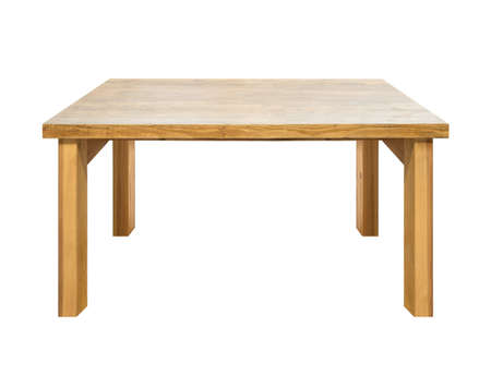Used wooden table isolated on white.