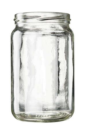 Open empty glass jar isolated on white 版權商用圖片