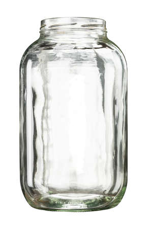 Open empty large glass jar isolated on white