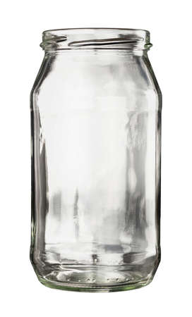 Open empty glass jar isolated on white Stock Photo