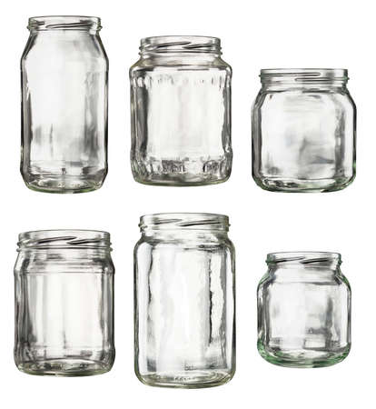 Open empty glass jars isolated on white Stock Photo