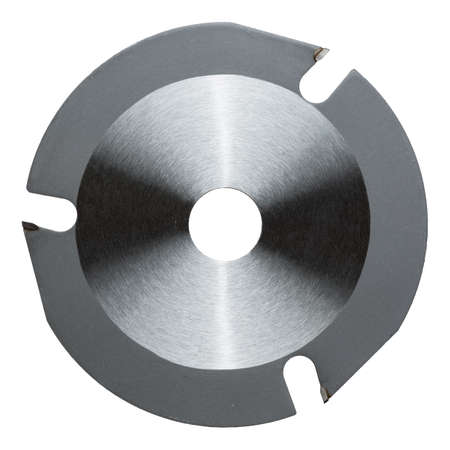 Angle grinder wood cutter disk for rough shaping. Stock Photo