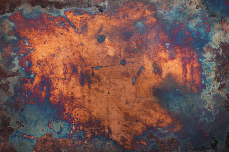 Dark aged copper texture. Grunge metal background.