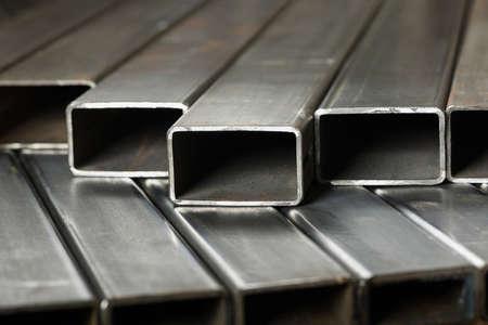 Rectangular metal pipes . Steel materials, construction supplies. 版權商用圖片