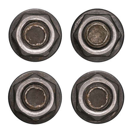 Dark screw nut heads with washers isolated on white.