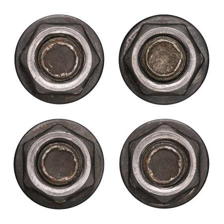 Dark screw nut heads with washers isolated on white. 版權商用圖片 - 85505175