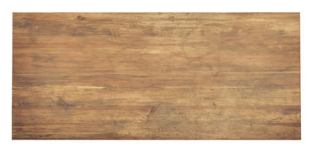 Used wooden tabletop isolated on white. Workbench view from above. 版權商用圖片