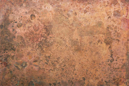 Aged copper plate texture, old worn metal background. 版權商用圖片 - 85505139