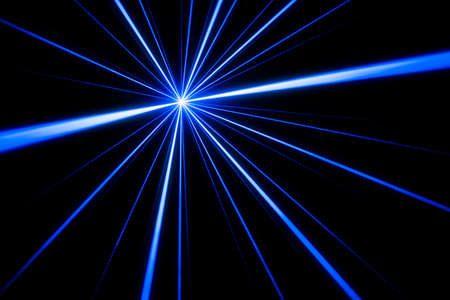 Blue laser beam light effect on black background, photo.