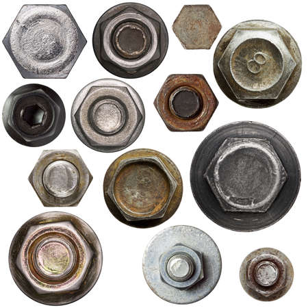 Screw nut heads isolated on white. Stock Photo