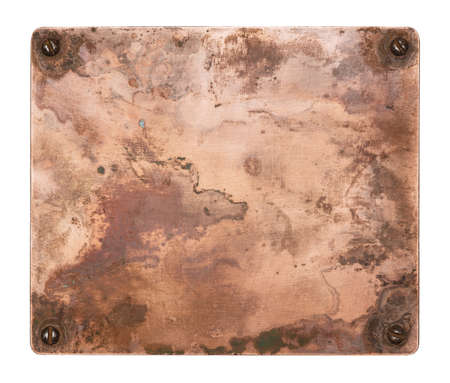 Copper plate with screws. Old metal background. Stock Photo