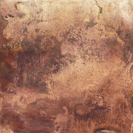 Aged copper plate texture, old worn metal background. 版權商用圖片 - 87938322