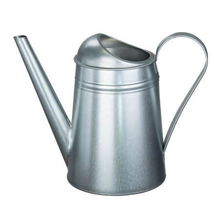 Metal watering can isolated on white