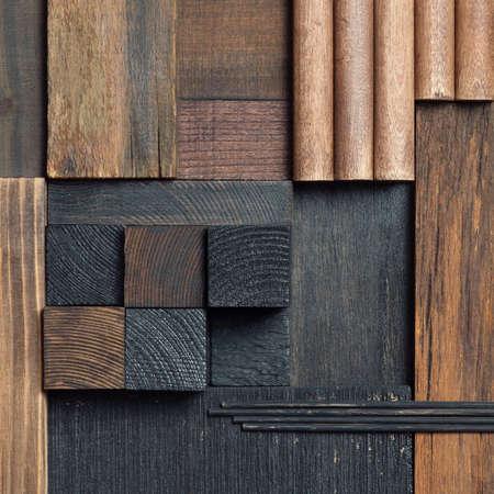 Abstract dark wood block collage background. 版權商用圖片 - 87902219