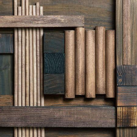 Abstract dark wood block collage background. 版權商用圖片 - 87902220