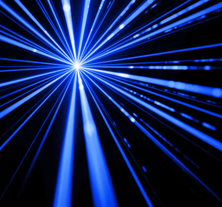Blue laser beam light effect on black background.